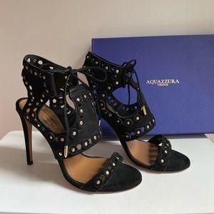 AQUAZZURA Black Suede Heels Rebel Studs 37 / US 7